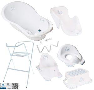Tega Baby ® Baby Badewanne mit Gestell und Verschiedene Sets mit Babybadewannen + Ständer + Abfluss + Badewannensitz 0-12 Monate, Motiv:Häschen - weiß, Set:7 Set Weiß
