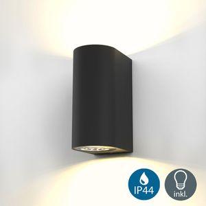 LED Wandleuchte Außenwandleuchte inkl. 5W GU10 Leuchtmittel Außen-Leuchte Wandlampe Innen Außen schwarz IP44 B.K.Licht