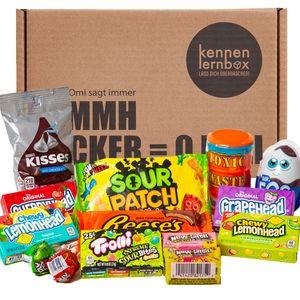 Süßigkeiten Box aus Amerika | 14 beliebten Süßigkeiten aus den USA | Süßes & Saures | Geschenkidee für Weihnachten und Geburtstage