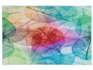 Teppich Bunt Polyester 160 x 230 cm Kurzflor Blätter Modern 3D Rechteckig