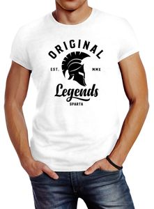 Herren T-Shirt Original Legends Gladiator Sparta Streetwear Slim Fit Neverless® weiß 3XL