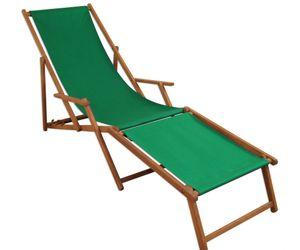 Liegestuhl Sonnenliege grün Fußablage Gartenliege Holz Deckchair Strandstuhl Gartenmöbel 10-304 F