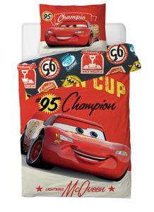 Disney Cars McQueen Jugend Kinder Bettwäsche Set 135x200 80x80 Baumwolle Rot NEU