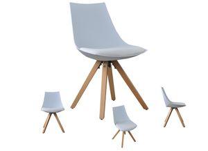 i-flair 2er Set Schalenstuhle, weiß Esszimmerstuhle mit Sitzkissen aus Kunstleder - Gusto