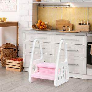 COSTWAY Kinder Tritthocker, 2 stufiger Trittschemel, Kinderschemel aus Kunststoff, Trittleiter perfekt für Kinderzimmer, Küche und Badezimmer (Pink)