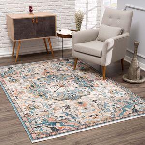 Teppich Wohnzimmer -  Multi -  Flachflor Vintage Klassisch Ornamente mit Fransen, Teppich Größen:200 x 290 cm
