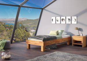 Holzbett breites Einzelbett 100x200 Buche Bettrahmen Futonbett mit wählbarem Zubehör  V-60.87-10, Ausstattung:ohne Zubehör
