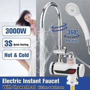 3000W Elektrisch Instant Wasserhahn LED Drehbar Durchlauferhitzer Bad Armaturen mit Duschkopf