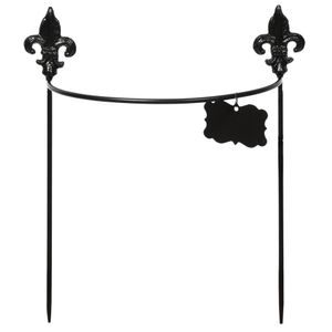 Rivanto® Pflanzenstütze aus Metall mit Pflanzschild, halbrund, Größe S, 34,7 x 14,6 cm, 39,6 cm hoch, zwei Spieße mit horizontaler Rankhilfe, schwarz