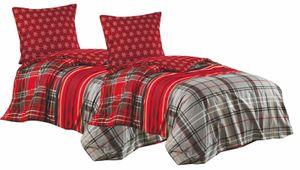 Bettwäsche 135x200 + 80x80 cm Baumwolle Renforce rot grau Sterne Wendefunktion, 4 tlg