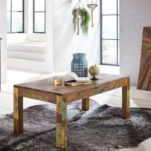 WOHNLING Couchtisch Kalkutta 110 x 47 x 60 cm | Massivholz Wohnzimmertisch Rechteckig | Sofatisch Shabby-Chic Massiv | Beistelltisch aus Bootsholz