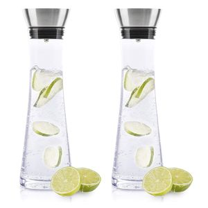 2x Wasserkaraffe Glas (1 Liter) - Glaskaraffe mit Deckel und Ausgießer Wasserflasche