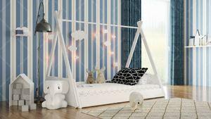 Holzti - Kinderbett TIPI (120x60cm,Weiß) Indianer Bett Holz Hausbett Kinderhaus Haus, Kreativer Spaß - alleine einschlafen