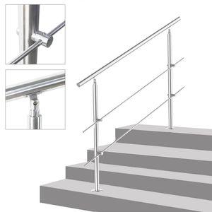 Treppengeländer Edelstahl Geländer Balkongeländer, 150cm, mit 2 Querstäbe, Handlauf für Innen Außen