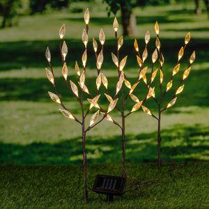 LED Solar Strauch 3er Set Gartenstecker Solarbeleuchtung warm-weiße LED Garten