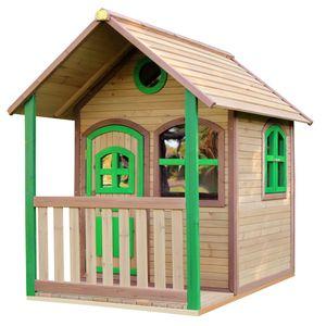 AXI Spielhaus Alex ausHolz   Outdoor Kinderspielhaus für den Garten in Braun & Grün   Gartenhaus für Kinder mit Fenstern & Veranda