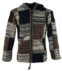 Patchwork Strickjacke Wolljacke Nepaljacke - Modell 18, Damen, Braun, Wolle, Größe: S