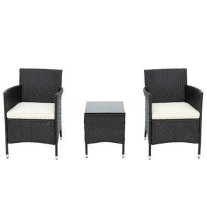 Polyrattan Balkonmöbel Set 2 Personen–1 Tisch & 2 Sessel–Wetterfeste Gartenmöbel set–für Garten, Balkon & Terrasse ,Schwarz