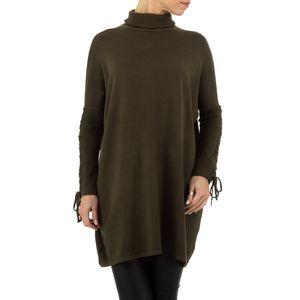 Ital-Design Damen Pullover & Strick Longpullover Khaki
