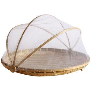 Rund 30cm Zeltkorb aus Bambus für die Aufbewahrung von Obst Gemüse und Brot
