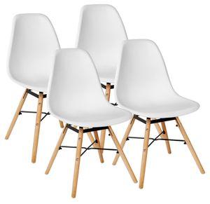 Skandinavisches Retro Design Modern Stühle Esszimmerstühle Möbel Holz Stahl Kunststoff Schale Weiß Schwarz Hellgrau Dunkelgrau 2er 4er 6er 8er Set Kingpower, Auswahl:4 Stühle - weiß