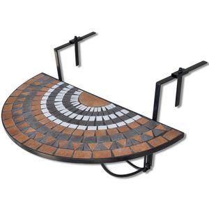 Balkonhängetisch - Balkontisch zum einhängen, Mosaik Terra/Schwarz