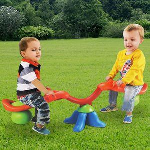 COSTWAY Wippschaukel 360° drehbar, Karussell Wippe mit Griff zum Festhalten, Gartenwippe für Kinder über 3 Jahren