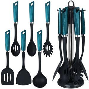 Küchenhelfer mit Ständer 7tlg. Petrol Küchenutensilien Set Pfannenwender Servierlöffel Spaghettilöffel Suppenkelle