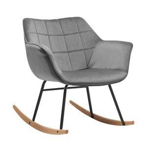Duhome Schaukelstuhl Schwingsessel Stoff Samt grau gesteppt Sessel Gestell Metall Holz