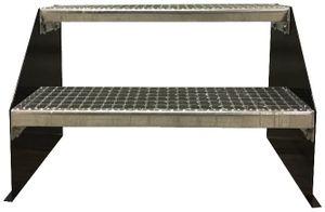 2 stufige freistehende Stahltreppe Standtreppe Breite 70cm / Geschosshöhe 42cm Schwarz