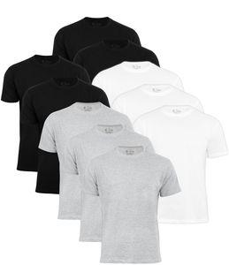 Baumwolle Prime® 10er Pack T-Shirt O-Neck - Tee XL Mix (4x Schwarz, 3x Weiss, 3x Grau)