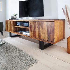 Massives TV-Board FIRE & EARTH 160cm Sheesham Stone Finish Palisander Lowboard Fernsehtisch Fernsehschrank