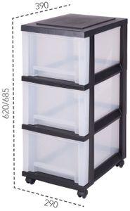 IRIS OHYAMA Rollcontainer 3 hohe Schubladen, schwarz-transparent 6157