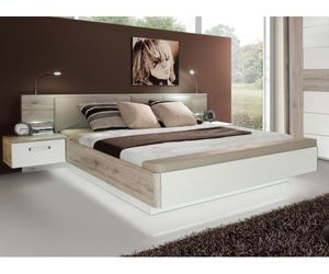 RDNL181B-T30 Rondino Sandeiche Nb. / Hochglanz Weiß Bettanlage Doppelbett Bett inkl. Fussbank inkl. Nachtkonsolen ca. 180 x 200 cm