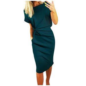 Damenmode Cool Solid Solid Color Casual Formol Party Kurzarm Elegantes Kleid Größe:M,Farbe:Grün