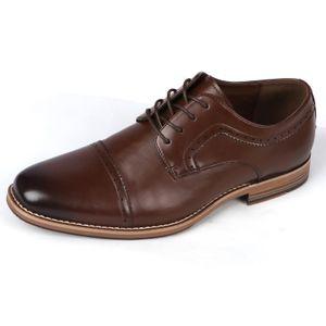 BIGTREE Herren Business Leder Schuhe Schnürschuhe, Dunkelbraun, EU-Größe: 44