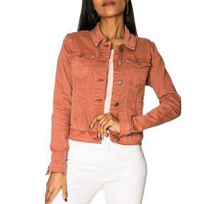 Damen Jeans Jacke Kurz Übergangsjacke Frühling Denim Weste, Farben:Lachs, Größe:40