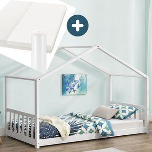 Juskys Kinderbett Paulina 90 x 200 cm mit Matratze, Lattenrost und Dach - Bett für Kinder aus massivem Holz - Hausbett in Weiß