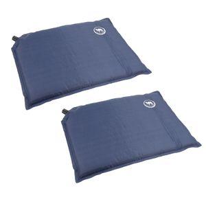 2 x Survival Sitzkissen Selbstaufblasendes Camping Kissen Picknick Matte, blau