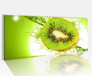 Acrylglasbild 100x40cm Kiwi Wasser Tropfen Obst Küche Glasbild Bilder Acrylglas Acrylglasbilder Wandbild 14A150