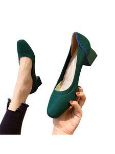 Damen Schuhe Für Formelle Kleidung Mit Spitzer Zehenpartie Und Eckiger Zehenpartie,Farbe: Grün,Größe:35