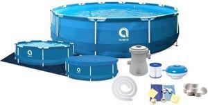 Schwimmbad 305x76 cm - mit Filtern & Pumpe - mit Abdeckung - blau - oberirdisches Becken