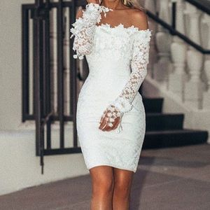 Frauen y Spitze Solid Slash Neck Off Schulter Cocktail Party Elegantes Kleid Größe:M,Farbe:Weiß
