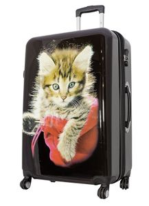 Reisekoffer XL Schwarz mit Katze Tier 77x51x30cm Hartschale Koffer Trolley + 20% Erweiterbar mit Dehnfalte Bowatex