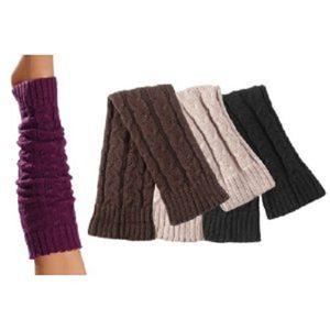 Tobeni 1 Paar Damen Stulpen Strick-Design für Arm und Bein, Farbe:Silber
