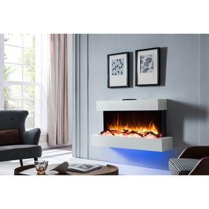 RICHEN Elektrokamin Ignis Wandkamin Elektrischer Kamin (2000W, LED-Beleuchtung, 3-D Flammeneffekt, Fernbedienung) Weiß