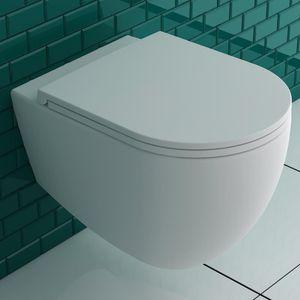 Alpenberger Spülrandloses Hänge-WC aus Keramik 53 x 36,5 cm   Antibakterielle Beschichtung Rimless Toilette inkl. abhnembaren WC-Sitz mit Soft-Close   Wand-WC ohne Spülrand   Elegantes Design