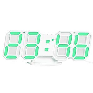 3D LED Digitaluhr Elektronische Tischuhr Wecker Wandleuchtende Hängeuhren Grün【Grün】