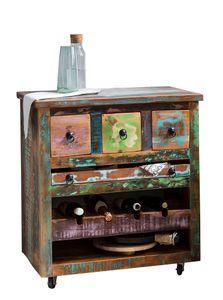 SIT Möbel Küchenwagen auf Rollen | 3 Schubladen, Ablage für 4 Flaschen, herausnehmbares Tablett, offenes Fach | Altholz bunt | B 78 x T 48 x H 85 cm | 09187-98 | Serie RIVERBOAT
