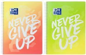"Oxford Collegeblock Touch ""Never Give Up"" DIN A4+ kariert zufällige Farbe 1Stück"